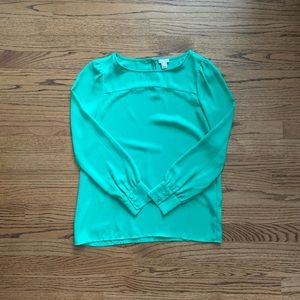 J. Crew Factory Green Long-sleeve Blouse